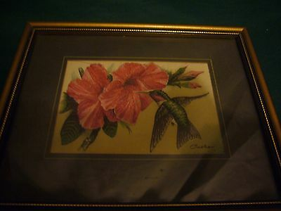 highly collectable framed cashs ruby throated humming bird woven silk picture