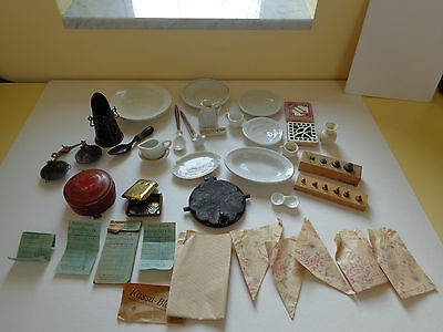 Antique toys old accessories for doll kitchen toy shop c1900 waffle iron tin toy