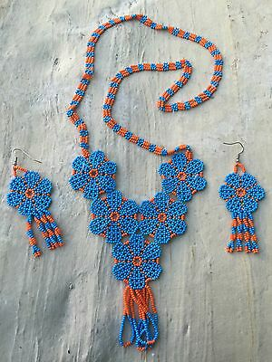 Mexican Huichol Flower Necklace With Earnings