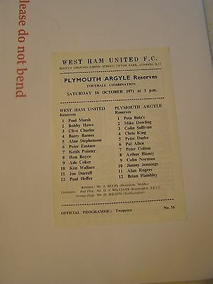 West Ham reserves v Plymouth Argyle res   Combination 71/2 programme