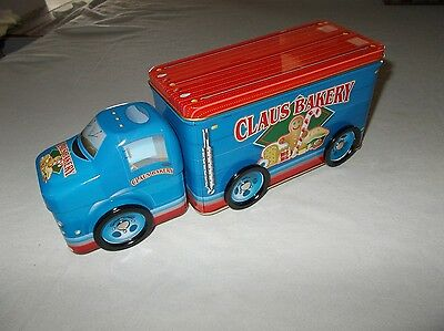 Rare Tin Box Company decorative Claus Bakery delivery truck rolling wheels nice