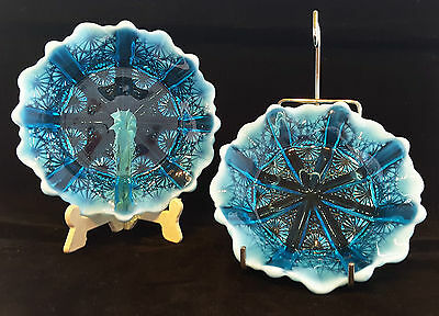 "Davidson~Lady Chippendale~Rd:176566~Blue Pearline~Glass~Pin~Trinket~Dishes~5""d"
