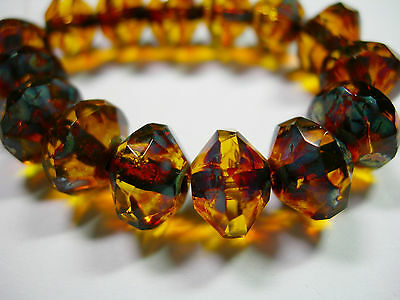 faceted Saucer Beads 15 8x10mm Czech Glass Ruby Red Travertine