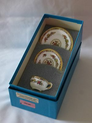 Coalport Ming Rose Bone China Miniature Cup, Saucer & Plate Boxed