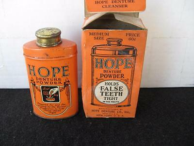 Antique Vintage 1920's HOPE Denture Powder Tin...with original box..Rare