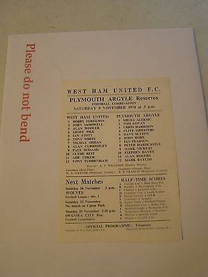 West Ham reserves v Plymouth Argyle res   Combination 74/5 programme