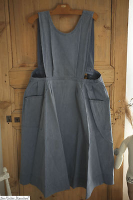 Vintage French CHAMBRAY cotton APRON peasant WORK WEAR c 1940