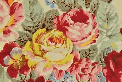 3 Panels Sublime Antique French Printed Cotton Fabric Cabbage Roses Chinz  C1920