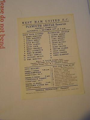 West Ham reserves v Plymouth Argyle res   Combination 77/8 programme