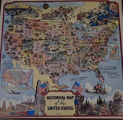 Vintage Pull Down School Map of US Historical Dates and Europe