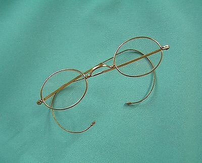 Vintage Wire-Rimmed Gold Spectacles With Wrap Round Arms