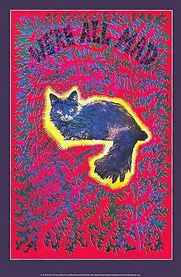 "EAST TOTEM WEST Psychedelic CHESHIRE CAT Black Light Poster ""We're All Mad"""