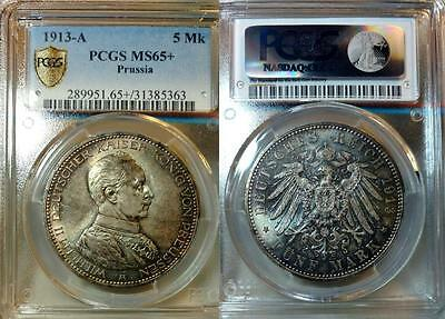 Prussia 5 Mark 1913-A, Wilhelm II, Gem Toned Uncirculated, PCGS MS 65+