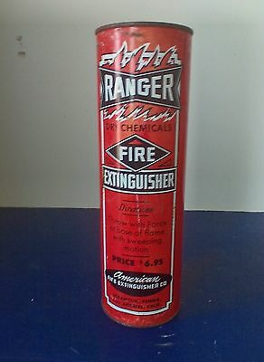 Vtg  RANGER Dry Chemical Fire Extinguisher Metal Tin Pry Off Lid  NOW OBSOLETE
