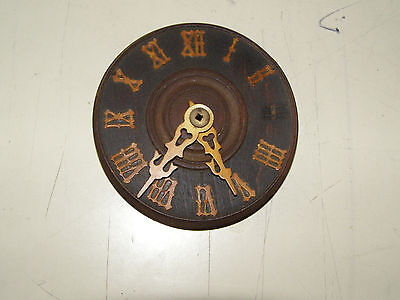 """Antique German Coo Coo Clock dial with hands, many original numerals 3 1/4"""" dia"""