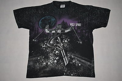 Vintage T-Shirt TShirt Wild Spirits Sansegal Ski Snow All over Print Oldschool L