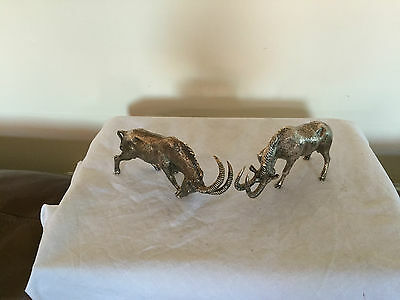 Beautiful Pair Of Heavy Silver Plated African Impala Animal Figures