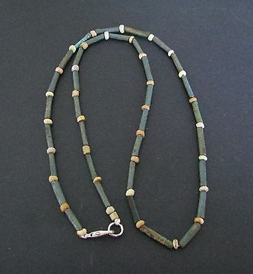 NILE  Ancient Egyptian Faience Amulet Mummy Bead Necklace ca 1000 BC