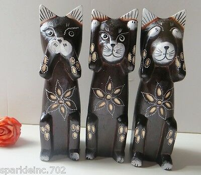 "SET of 3 , 8"",CATS! SPEAK, SEE & HEAR NO EVIL CAT FIGURINES,WOOD, HANDMADE!"