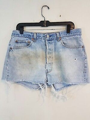 "Vintage Levis 501 Denim Jean Shorts Cut Off Cut-Offs 35""w Shrink To Fit  #72-1"