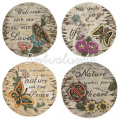 set of 4  GARDEN CONCRETE STEPPING STONE DECORATION