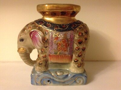 Stunning vintage hand painted porcelin elephant statue plant stand