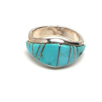 Navajo Inlay Handmade Turquoise Inlay Sterling Silver Ring Size 7.5