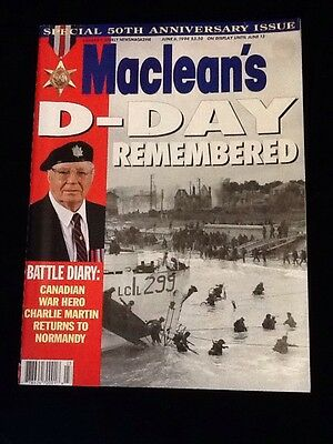 1994, June 6,  MACLEANS MAGAZINE D-DAY REMEMBERED 50th anniversary edition WW11