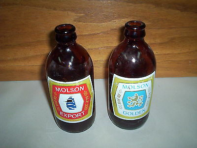 Lot of 2 Vintage Molson Export & Molson Golden 12oz Brown Stubby Beer Bottles