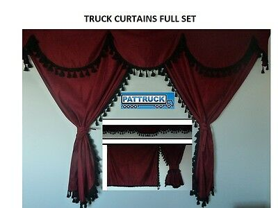 TRUCK CURTAINS BURGUNDY WITH BLACK TASSELS Man,Scania,Volvo, Daf,Iveco,Mercedes