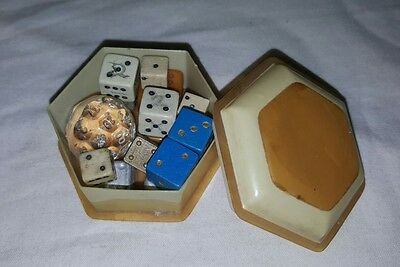 Small Vintage Plastic Box Filled With Dice