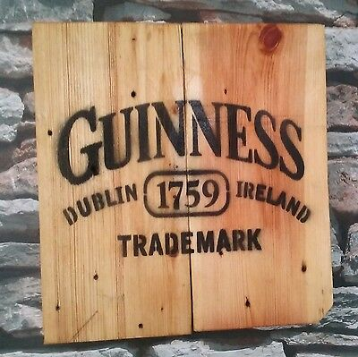 Rustic Reclaimed Wood Wall Hanging Guiness Mancave bar pub shed