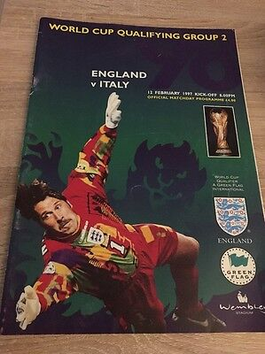 England v Italy World Cup 98 Qualifier Matchday Programme 12/02/97
