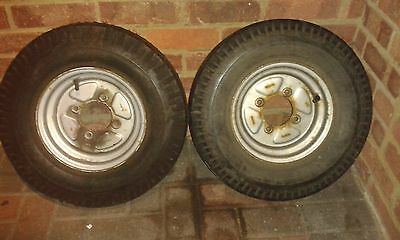 2 Trailer wheels 500x10 with or without knackerd tyres