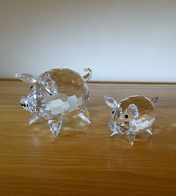 Two Swarovski Crystal Pigs One Large One Small