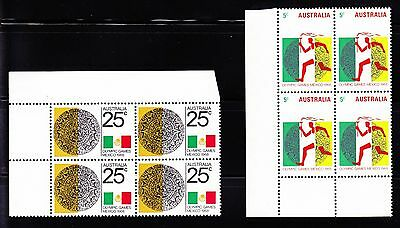 Australia 1968 Olympic Mexico 5c & 25c Full Set in Blocks of 4 8 Stamps MNH