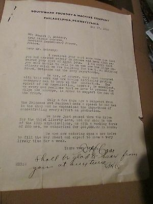 WW1 Company Letter To US Soldier