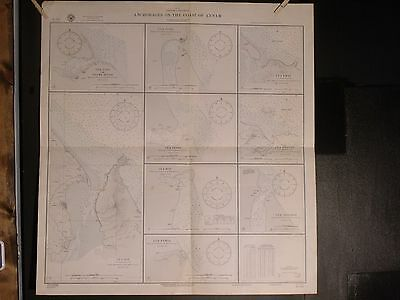 WWII Era Nautical Chart 2515 Asia Anchorages Coast Of Annam Thailand 1st ED