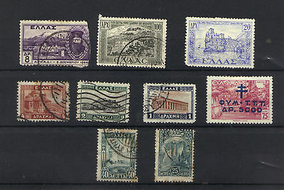 GREECE OLD SELECTION X 9 1927-1947  USED/HINGED (2 Mint/Hinged) See scan