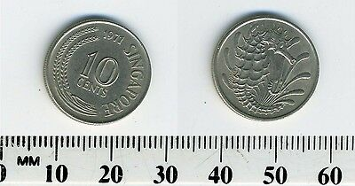 Singapore 1971 - 10 Cents Copper-Nickel Coin - Stylized Spotted Seahorse