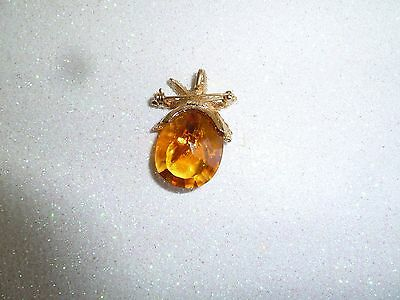 Vintage Gold Tone Faceted Amber Colored Pineapple Glass Brooch