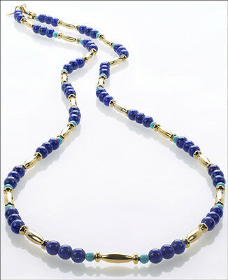 Egyptian Genuine Lapis and Turquoise Shade Necklace and 24 K Gold Plated Beads