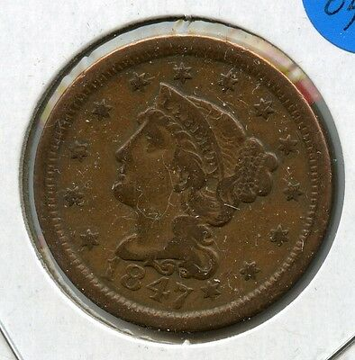 1847 P Large Cent 1C Braided Liberty Penny Nice Very Fine FV Grade AA305