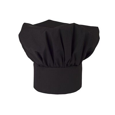 Chef Hat Black Cloth One Size Fit All Velcro Closure Free Shipping Usa Only