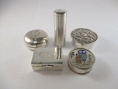 4 Vintage Silver Pill Boxes & 1 Silver Lipstick Holder