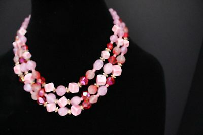 Multi Strand Pink and Red Faceted Bead Vintage Necklace Signed West Germany