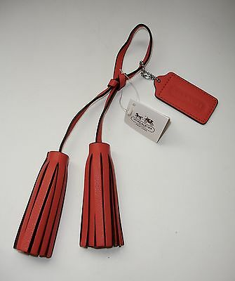 COACH Purse Large Leather Tassels and Logo Hang Tag Carnelian NeW