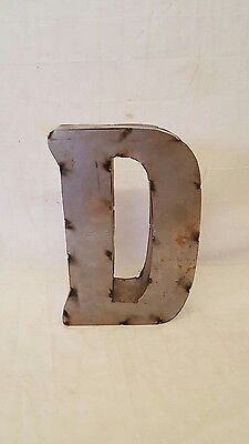 "12"" D Block Letter Vintage Marquee Recycled Metal Tin Industrial Salvage Rustic"