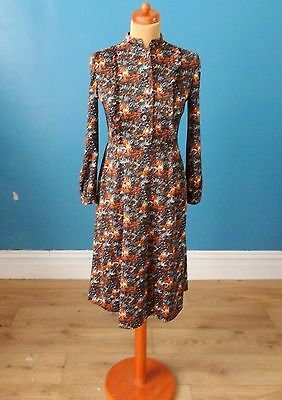 Vintage 70's Abstract Print Dress Retro Boho Mod 14
