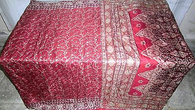 Cream Red Pure Silk 4 yd Vintage Sari Saree Pattern Shari Cheap Sheet UK #ADTJ2